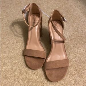 Taupe suede open-toed heels (brand new!)